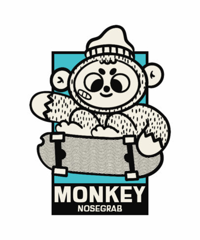 Cartoonish T-Shirt Design Template with Cute Animals Riding Skateboards 4368