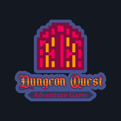 Gaming Logo Template with an 8-Bit Dungeon-Themed Graphic 4625a