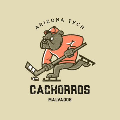 Online Logo Template for a College Hockey Team with a Dog Player 4614a