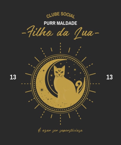 Esoteric-Styled T-Shirt Design Template with Graphics of Cats 4042