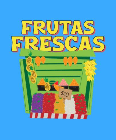 T-Shirt Design Maker Featuring an Illustrated Fruit Stand 4018d