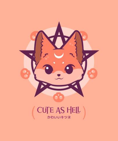 Pentagram T-Shirt Design Template Featuring Kawaii Characters 4037