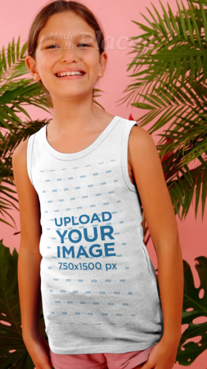 Tank Top Video of a Smiling Girl Posing by Palm Leaves 3953v