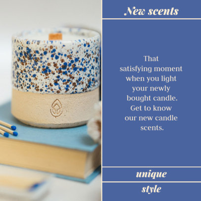 Instagram Post Template With a Simple Layout and Pictures of Handmade Scented Candles 4376f-el1