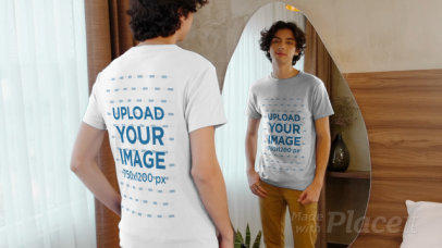T-Shirt Video of a Young Man Looking at Himself in a Mirror 3995v
