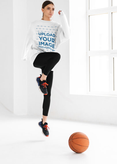 Activewear Mockup of a Woman With a Sweatshirt Jumping m10976-r-el2