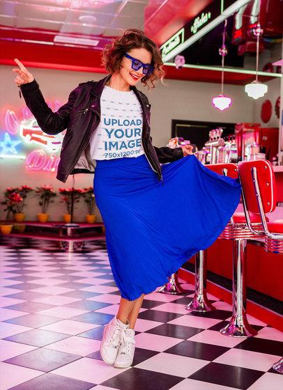Retro T-Shirt Mockup of a Woman Dancing at a Milkshakes Restaurant m15417-r-el2