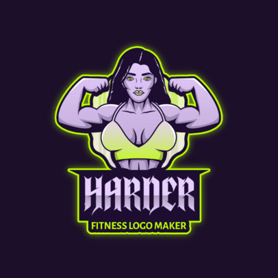 Fitness Club Logo Maker Featuring a Female Bodybuilder Graphic 4630A