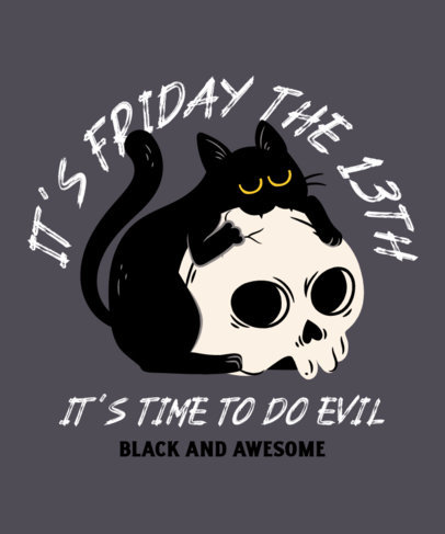 Halloween-Themed T-Shirt Design Maker of a Black Cat Hugging a Skull 4044g