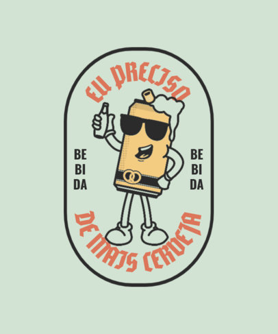 T-Shirt Design Template Featuring a Cartoonish Beer Character 4047d