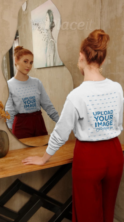 Sweatshirt Mockup of a Woman in an Elegant Room 4039v