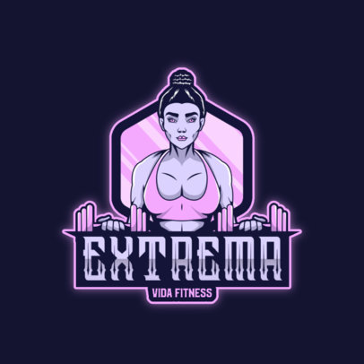 Logo Creator for a Fitness Club Featuring a Female Bodybuilder with Dumbbells 4630E