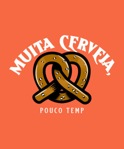 T-Shirt Design Template Featuring a Quote About Beer and a Pretzel Graphic 4048a