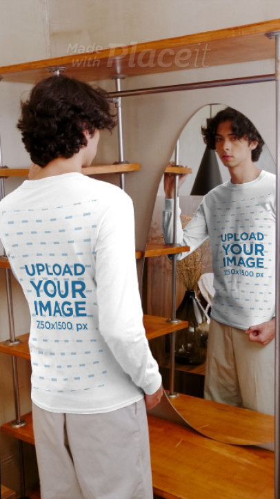 Long Sleeve Tee Mockup of a Man Posing in Front of a Mirror 3993v