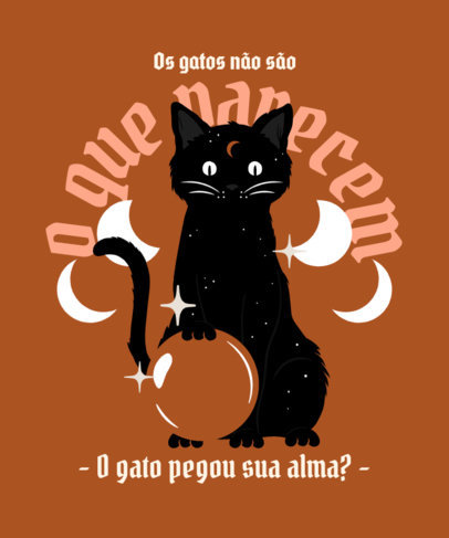 T-Shirt Design Generator Featuring an Illustration of a Magical Cat With a Crystal Ball 4045c