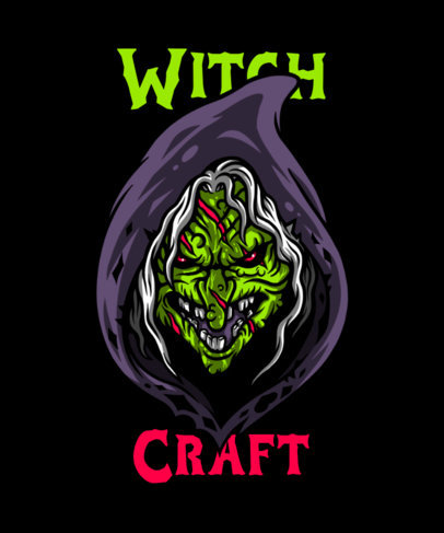 Horror T-Shirt Design Creator with a Graphic of a Vicious Witch 4636b