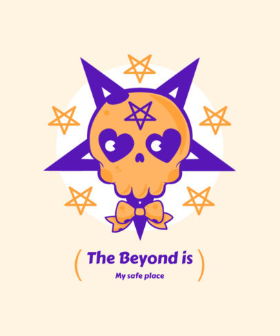 Pentagram-Themed T-Shirt Design Template with a Skull Graphic 4037d