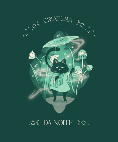 Illustrated T-Shirt Design Maker Featuring Cats and an Esoteric Style 4043a