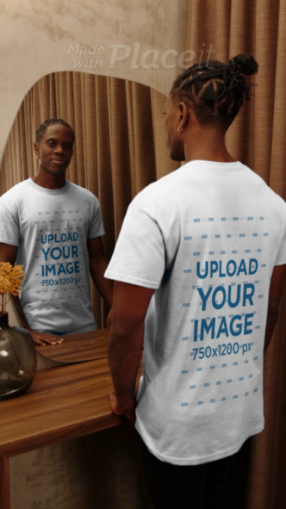 Front and Back View Video of a Man Looking at Himself in a Mirror 4052v