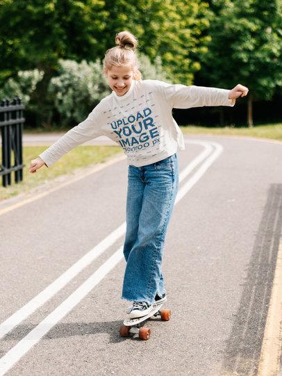 Long Sleeve Tee Mockup Featuring a Happy Girl on a Skateboard m12489-r-el2