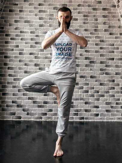 Basic T-Shirt Mockup Featuring a Man in a Standing Yoga Pose m12482-r-el2