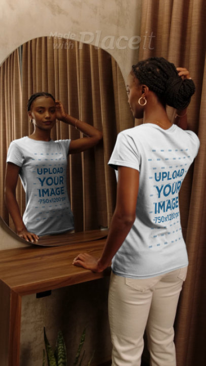 T-Shirt Video of a Woman Looking at Herself in an Elegant Mirror 4055v