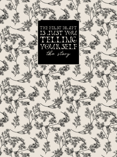 Notebook Cover Generator With an Illustrated Botanical Pattern and a Quote 4390b-el1