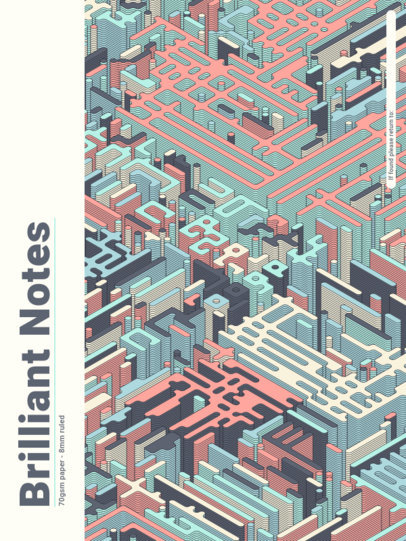 Notebook Cover Generator with an Isometric Pattern 4394b-el1