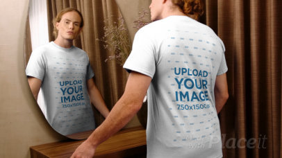 T-Shirt Video of a Man Standing in Front of a Mirror 3998v