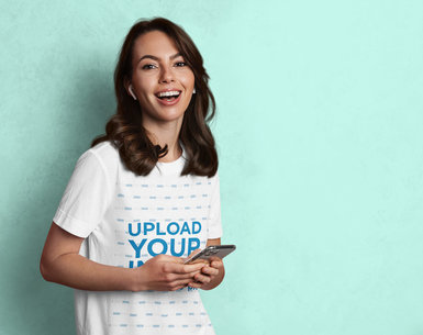 Basic T-Shirt Mockup Featuring a Woman Laughing m11429-r-el2