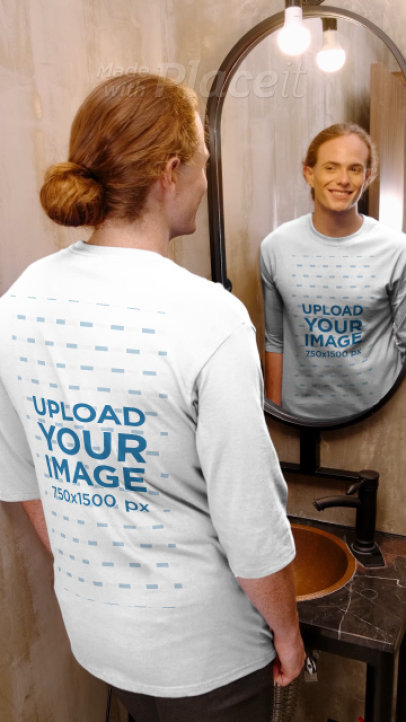Three-Quarter Sleeve Tee Video of a Smiling Man Standing in Front of a Mirror 3997v