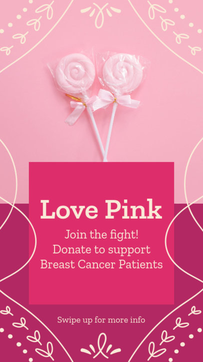 Instagram Story Template for a Breast Cancer Fundraising Ad 4064d