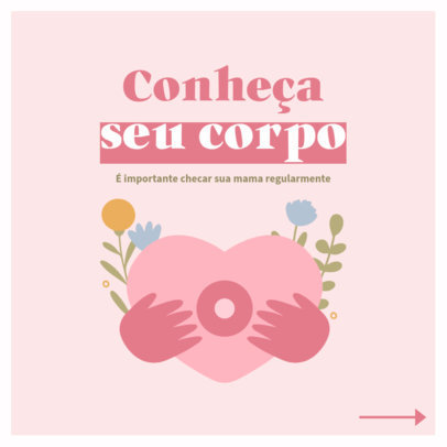 Breast Cancer-Themed Instagram Post Design Template for a Carousel in Portuguese 4062d