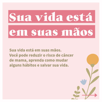 Instagram Post Design Template With a Breast Cancer Theme and Portuguese Text 4062d