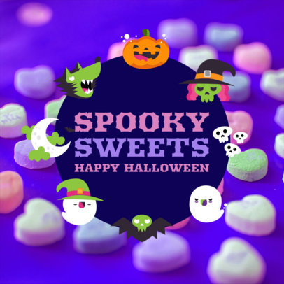 Instagram Post Template Featuring Cute Halloween Icons 4081