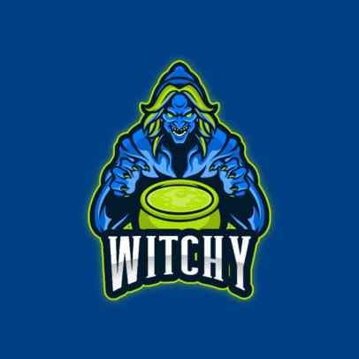 Gaming Logo Template Featuring an Evil Witch with a Cauldron 4406b-el1