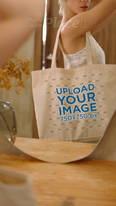 Tote Bag Video Featuring a Woman Posing in Front of a Mirror 4060v