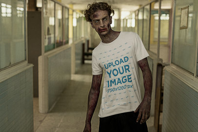 Halloween Mockup of a Zombie in a T-Shirt Walking in a Hospital Hall m15788