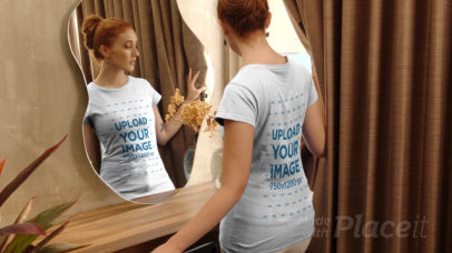 T-Shirt Video of a Red-Haired Woman Looking at Herself in a Mirror 4041v