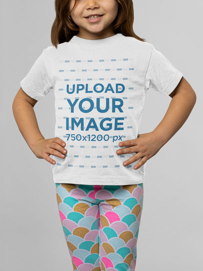 Round Neck Tee Mockup of a Little Girl Posing at a Studio M14938