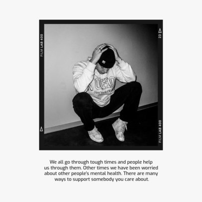 Monochromatic Instagram Post Maker for a World Mental Health Day-Themed Carousel 4418c-el1