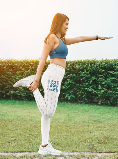Side Leggings Mockup of a Woman Warming Up for a Run M16169-r-el2