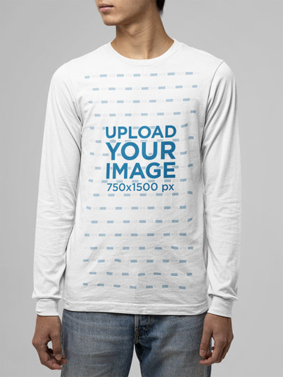 Mockup of a Young Man Wearing a Long Sleeve Tee From Bella Canvas m13907