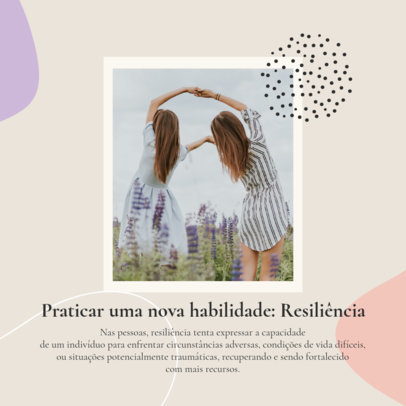 Mental Health-Themed Instagram Post Template with Quote in Portuguese 4422b-el1