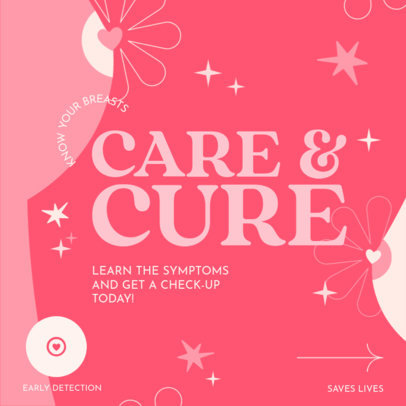 Instagram Post Design Maker Featuring a Breast Cancer Awareness Theme 4063b