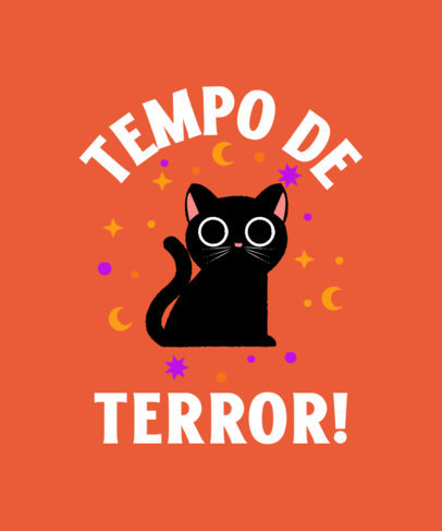 T-Shirt Design Template With a Halloween Theme and a Cute Cat Clipart 4078b