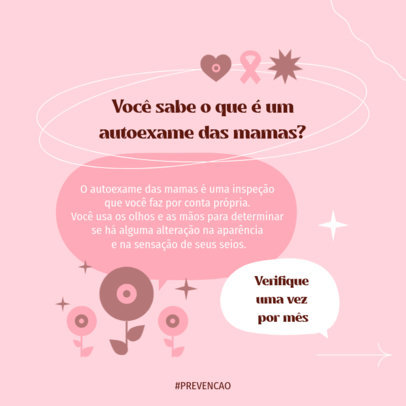 Instagram Post Design Template Featuring a Breast Cancer Awareness Month Theme 4063a