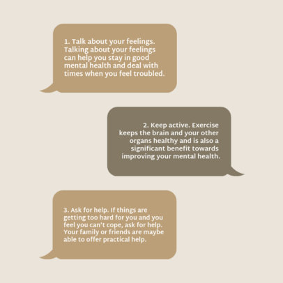 Instagram Post Maker Featuring Mental Health Tips and Text Bubbles 4417a-el1