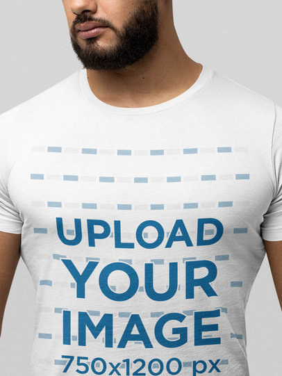 Closeup Mockup of a Bearded Man Wearing a Bella Canvas Round-Neck Tee m13950