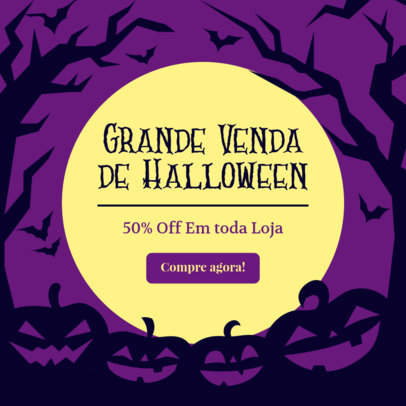 Illustrated Ad Banner Template for a Special Halloween Sale 4079a